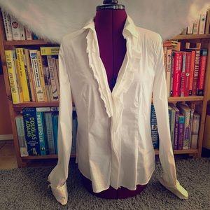 BCBGMAXAZRIA//white ruffled blouse M